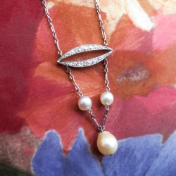 Antique Art Nouveau Edwardian 1900's Pearl Diamond Wedding Birthstone Pendant Necklace Platinum