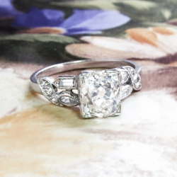 Vintage Retro Estate 1940's Old European Cushion Cut Diamond Platinum Engagement Bridal Wedding Ring