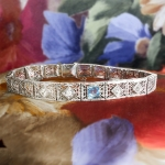 Art Deco 1930's Vintage Aquamarine Diamond Filigree Bracelet 14k White Gold 6.75' Inches Long