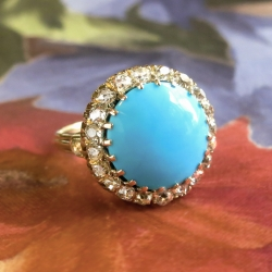 Antique Edwardian 1920's Blue Turquoise & Old European Mine Cut Diamond Halo Statement Birthstone Cocktail Ring 18k Yellow Gold