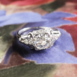 Art Deco 1930's Granat Bros. GIA Certified Diamond Engagement Wedding Anniversary Ring Platinum