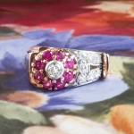 Vintage 1940's Retro Ruby Diamond Floral Motif Cocktail Birthstone Ring 14k Rose Gold Platinum
