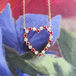 Estate Vintage Suna Bros Ruby & Diamond Heart Pendant Necklace Anniversary 18k 14k Yellow Gold