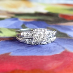 Vintage Retro 1940's .41ct t.w. Jabel Barth Diamond Engagement Ring Bridal Wedding Set Band 18k White Gold