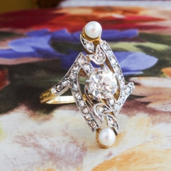Antique Art Nouveau 1900's .85ct t.w. Old European Cut Diamond Pearl Navette Ring Platinum 18k Gold