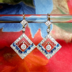 Antique Edwardian Blue Sapphire Diamond Chandelier Drop Earrings Platinum 18k Yellow Gold