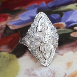 Antique Edwardian Old European Cut Diamond Ring Platinum