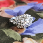 Art Deco Vintage 1930's Old European Cut Diamond Engagement Wedding Anniversary Ring Platinum