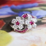 Estate Vintage 1960's Oscar Heyman Ruby Diamond Bypass Ring Platinum
