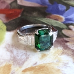 Estate Verdelite Brazilian Green Tourmaline Baguette Diamond Ring Platinum