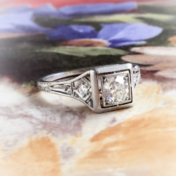 Art Deco Engagement Ring Circa 1930's J.E. Caldwell & Co. Old European Cut Diamond Platinum Wedding Ring