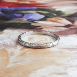 Antique Edwardian Wedding Band Circa 1920's Hand Engraved Platinum Ring Size 6
