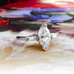 Vintage Marquise Diamond Ring Circa 1970's .96ct t.w. Wedding Engagement Anniversary Bridal Platinum Ring