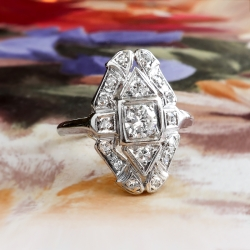 Art Deco Diamond Ring .40ct t.w. Vintage Unique 1930's Old European Cut Navette Anniversary Cocktail Ring Platinum