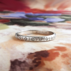 Edwardian Floral Wedding band platinum size 8