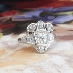 Art Deco Diamond Ring 1930's .80ct t.w. Vintage Old European Marquise Cut Diamond Unique Engagement Anniversary Ring 14k White Gold