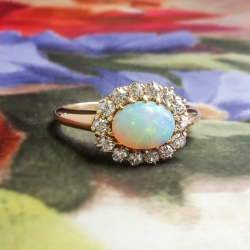 Antique Opal Diamond Ring Circa 1890's Victorian Old European Cut Diamond Halo Ring 14k Rose Yellow Gold