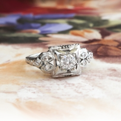 Art Deco Engagement Ring Vintage Circa 1930's Box Set Diamond Engagement Ring 18k White Gold