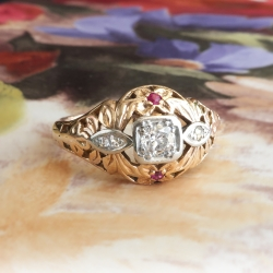 Art Deco Engagement Ring Circa 1930's Vintage Old European Cut Lab Ruby Engagement Ring 14k Rose Gold
