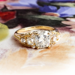 Antique Old Mine Cushion 2.10ct t.w. Diamond Ring Circa 1950's Victorian Style Engagement Anniversary Ring 18k Yellow Gold