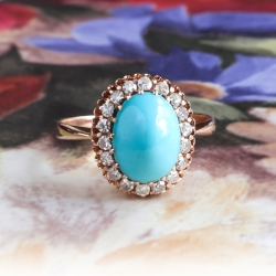 Art Deco Turquoise Ring Circa 1930's Russian Turquoise Single Cut Diamond Halo Ring 14k Rose