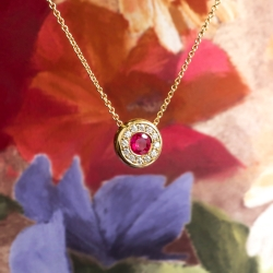 Vintage Ruby Diamond Necklace Circa 1990's Natural Red Ruby Diamond Halo Pendant 18k Yellow Gold