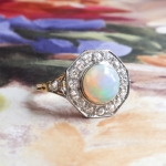 Art Deco Opal Old European Cut Diamond Halo Ring 18k Platinum