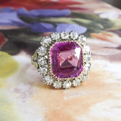 Antique Sapphire Diamond Ring Circa 1910's Russian Lab Pink Sapphire & Old Mine Cut Halo Unique Ring 18k Sterling Silver