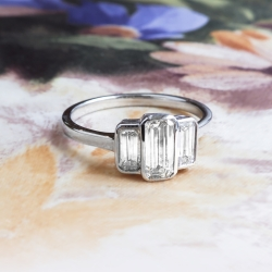 Art Deco Emerald Cut Ring Circa 1930's Vintage Three Stone Diamond Ring 18k White Gold