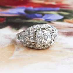 Antique Diamond Engagement Ring Circa 1920's Edwardian Filigree Old European Cut Wedding Anniversary Platinum Ring