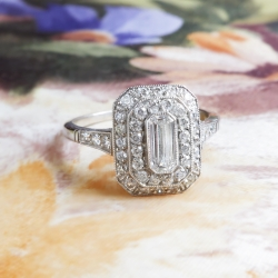 Vintage Emerald Cut Diamond Old European Cut Diamond Halo Filigree Hand Engraving Engagement Anniversary Platinum Ring