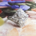 Antique Toi Et Moi Ring Circa Edwardian Old European Cut Diamond Filigree Platinum Engagement Anniversary Cocktail Ring