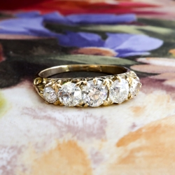 Art Deco Five Stone Wedding Band Circa 1930's Old European Cut Diamond Anniversary Stacking Ring 18k Yellow Gold