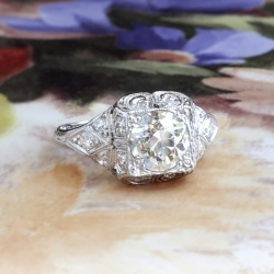 Edwardian Antique Engagement Ring Circa 1920's 1.42ct t.w. GIA Old European Cut Diamond Engagement Anniversary Wedding Ring Platinum