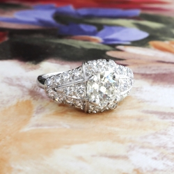 Art Deco Engagement Ring Circa 1930's Vintage 1.72ct t.w. Old Mine Cut Diamond Anniversary Wedding Ring Platinum