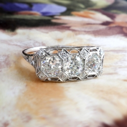Art Deco Vintage Ring Circa 1930's 1.16ct t.w. Old European Cut Diamond Filigree Anniversary Engagement Ring Platinum