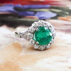 Art Deco Emerald Engagement Ring Circa 1930's Vintage 2.53ct t.w. Old Diamond Halo Wedding Anniversary Birthstone Ring Platinum