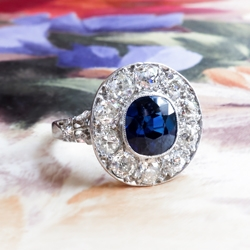Antique Sapphire Diamond Ring Circa 1915 Filigree Old European Cut Halo Cocktail Birthstone Anniversary Engagement Ring Platinum