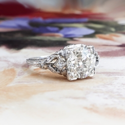 Antique Edwardian 1.82ct t.w. Diamond Engagement Ring Circa 1923-1925 Old European Cut Diamond French Cut Hand Engraved Platinum Ring