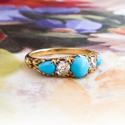 Antique Turquoise Five Stone Band Circa 1900's Old Mine Cut Diamond Turquoise Ring 18k