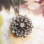 Antique Diamond Pendant Necklace 1.67ct t.w. Circa 1880's Diamond Flower Pendant Necklace Sterling Silver 14k Rose Gold 18' Inch Chain