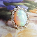 Edwardian 7.14ct t.w. Large Natural Crystal Australian Opal & Old European Cut Diamond Halo Ring 14k Yellow Gold
