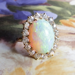 Edwardian 7.14ct t.w. 1920's Large Natural Crystal Australian Opal & Old European Cut Diamond Halo Ring 14k Yellow Gold
