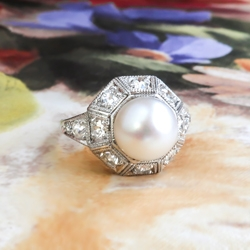 Edwardian 1920's Cultured Pearl & Old European Cut Diamond Filigree Unique Engagement Birthstone Ring Platinum