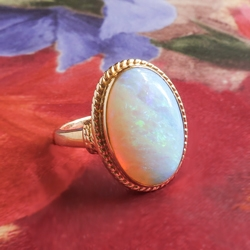 Vintage Opal Solitaire Ring Circa 1980's 4.50ct Natural Opal Milgrain Bezel 14k Yellow Gold