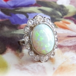 Antique Opal Diamond Ring Circa 1915 Natural Australian Opal & Old Mine European Cut Diamond Filigree Ring 18k White Gold