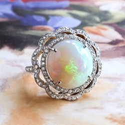 Antique Opal Diamond Ring Circa 1900's 6.41ct t.w. Natural Opal & Rose Cut Diamond Birthstone Anniversary Ring 18k Platinum