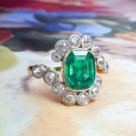 Antique Emerald Diamond Ring 2.87ct t.w. Natural Emerald Old Cut Diamond Bypass Halo Ring 18k Platinum