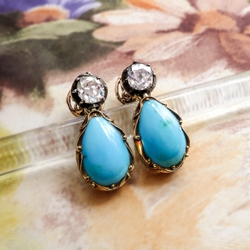 Antique Art Nouveau 1900's Turquoise & Old Mine Cut Diamond Earrings 14k Yellow Gold Sterling Silver