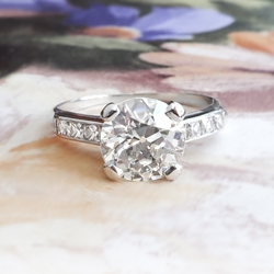 Antique Diamond Engagement Ring Edwardian 2.03ct t.w. French Cut Old European Cut Engagement Wedding Anniversary Ring Platinum
